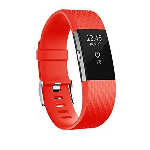 For Fitbit Charge 2 Bands Adjustable Replacement Bands For Fitbit Charge 2 With Metal Clasp Small Large Red Visi Fitness Wristband Fitbit Charge Fitbit Watch