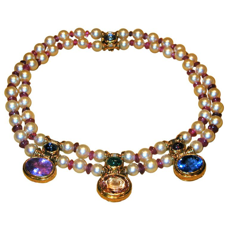 BULGARI Sapphire Pearl Ruby and Emerald Necklace