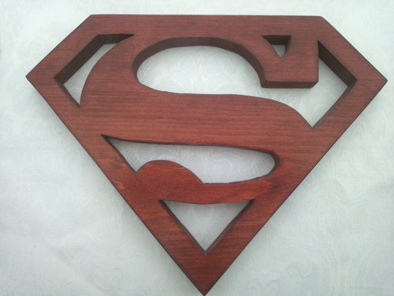 Superman Wood Logo Shield Wall Art or Key Holder Solid ...