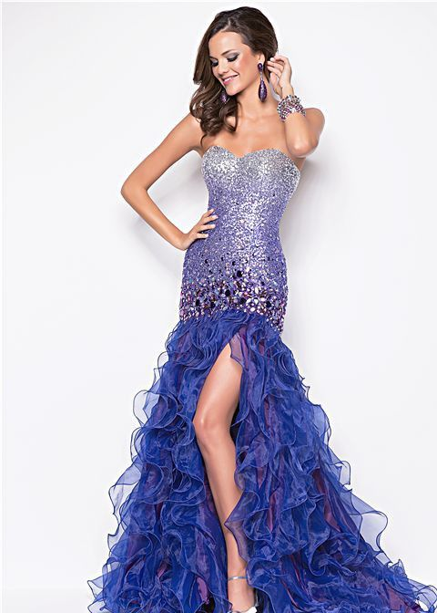 Beautifully Beaded Purple Ombre Mermaid Prom Dress With Ruffles And