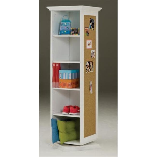 Bernards 7320 White Swivel Storage Cabinet With Corkboard Mirror Shelves
