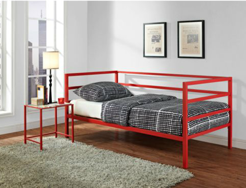Red Daybed, Trundle, and Nightstand First Home