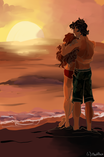 """""""He was kind, Percy,"""" she said. """"Tall, handsome, and powerful. But gentle, too. You have his black hair, you know, and his green eyes. He was only with me for one summer, Percy. Right here at this beach. This cabin."""" [Sally and Poseidon]"""