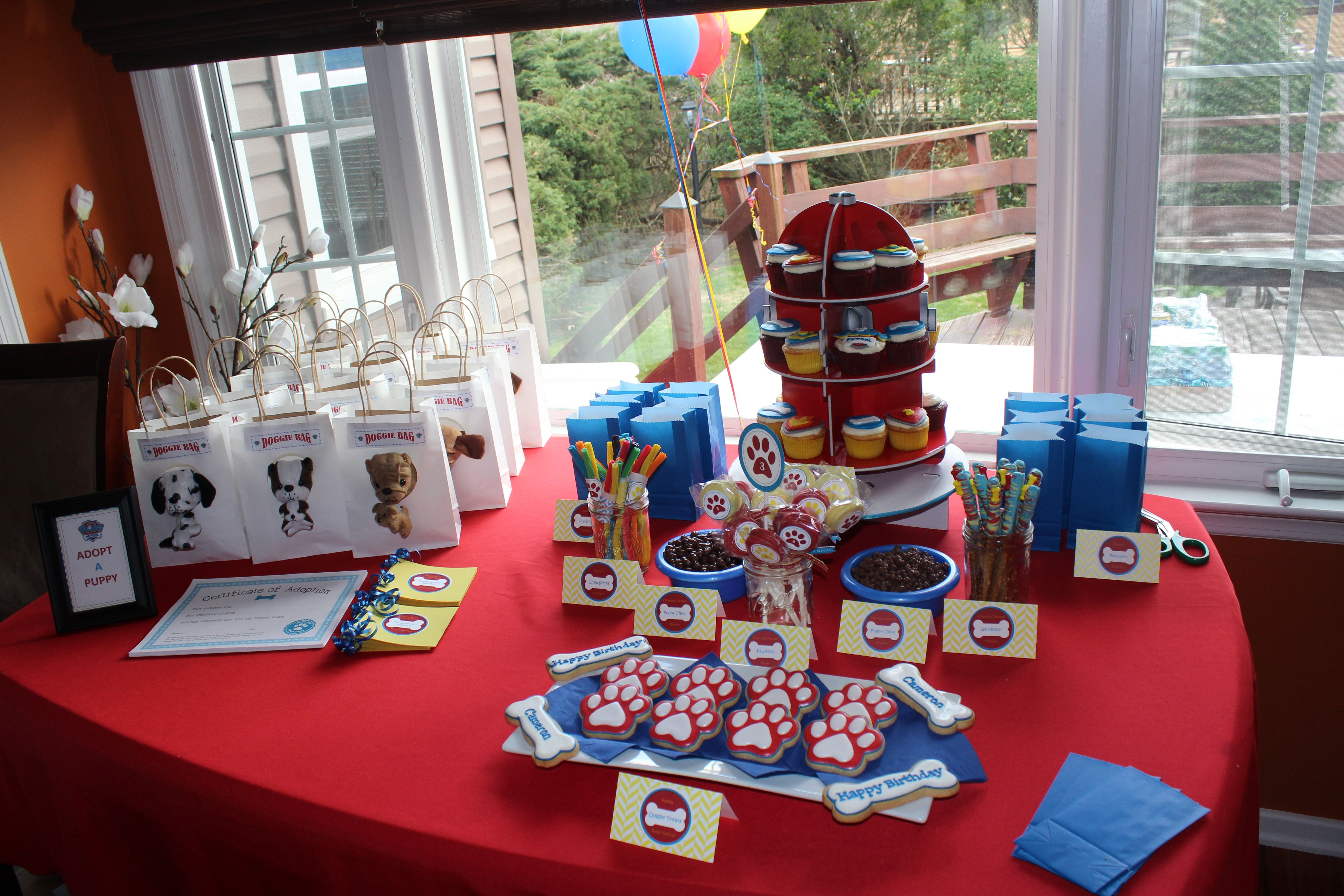Paw Patrol Themed Dessert Table Everything Is Diy Except The Fire Hydrant Cupcake Stand Amazon Paw Patrol Birthday Party Paw Patrol Birthday Paw Patrol Party