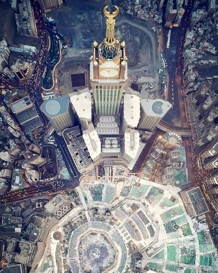 Umrah Banner: Beautiful Top View Of The Kaaba, Makkah Royal Clock Tower