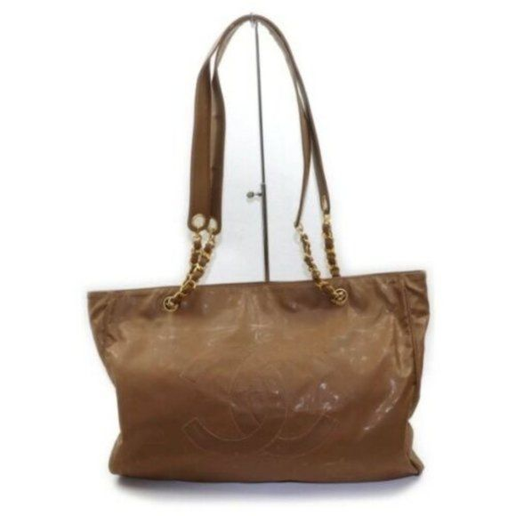 Authentic Chanel Bag Light Brown Patent Leather