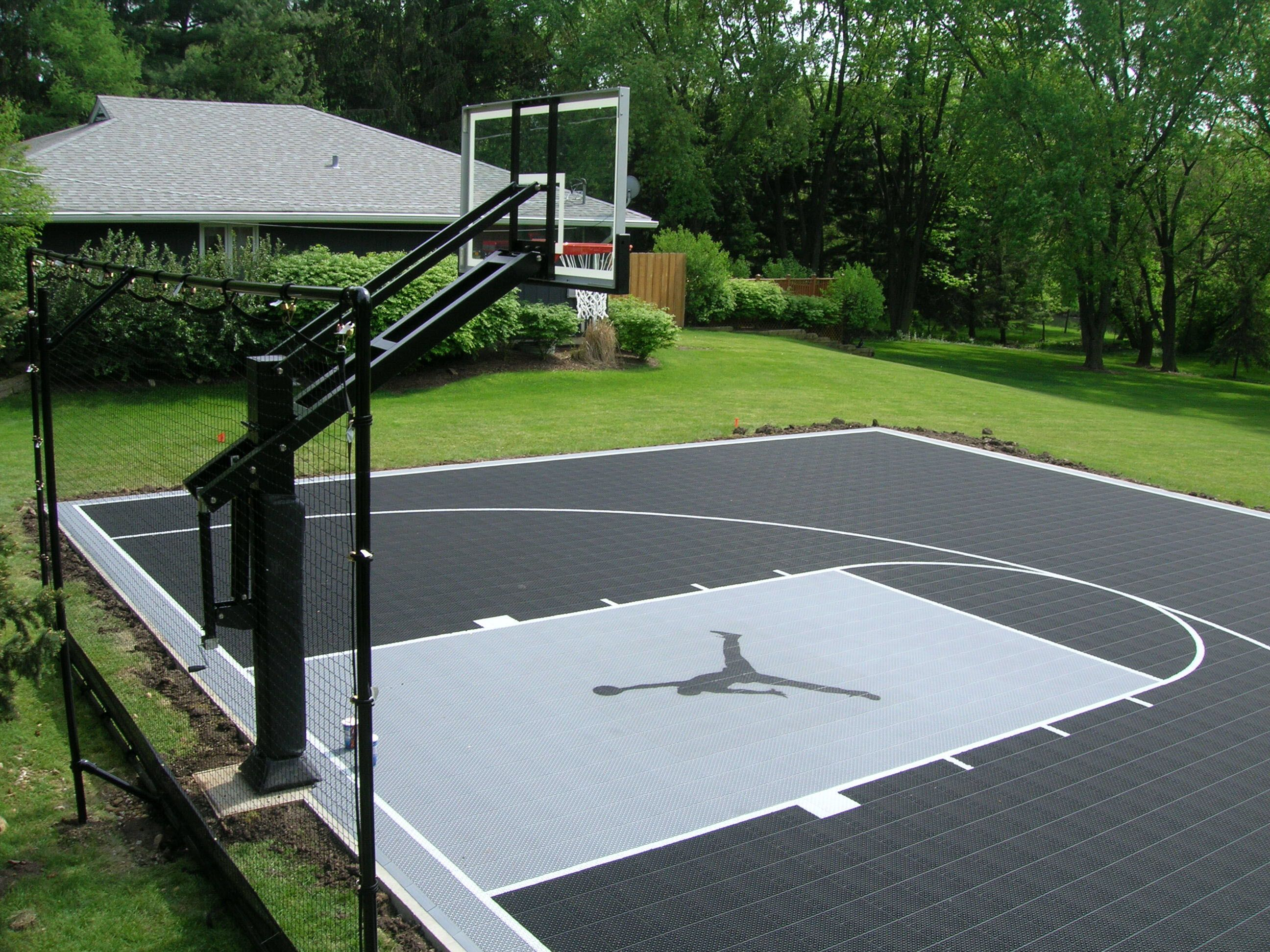 Jordans12 39 on buckets basketball court and backyard for Indoor basketball court flooring cost