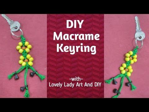 Macrame flower key ring - YouTube