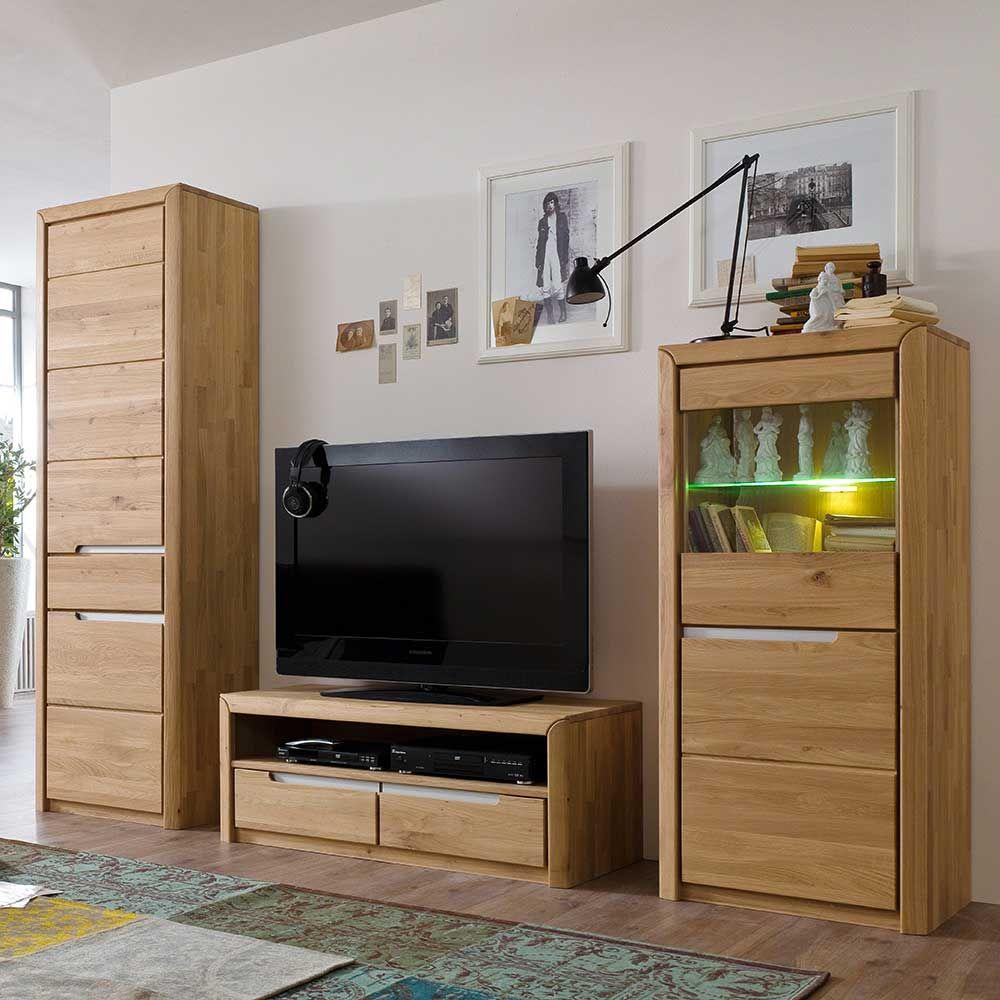 schrankwand aus wildeiche massivholz 250 cm breit 3 teilig wohnzimmerschrank wohnwand. Black Bedroom Furniture Sets. Home Design Ideas