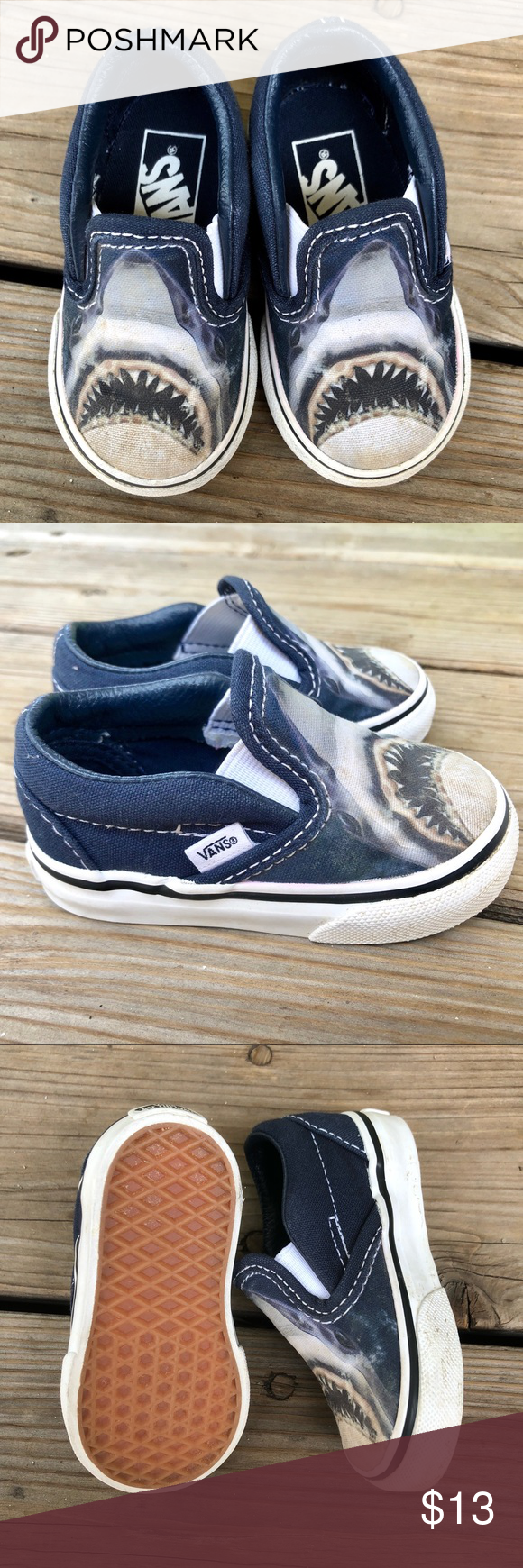 48ec5b971a7e Classic Vans Digi Shark Slip On Toddler Sz 4