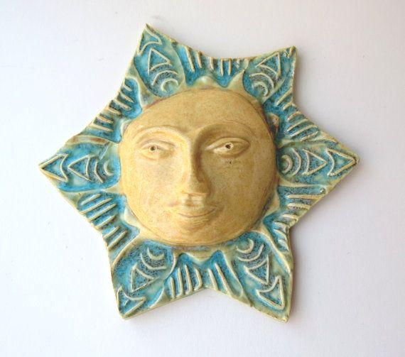 Sun ~Ceramic ~Pottery Sun ~wall Decor ~Yellow wall art ~unique art ...