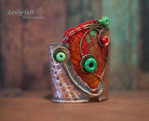 Copper art bracelet bright bracelet modern style big от Leslyfelt