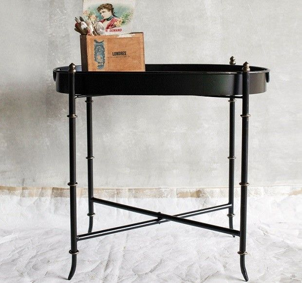 Exceptional Metal Folding Tray Table With Antique Finish