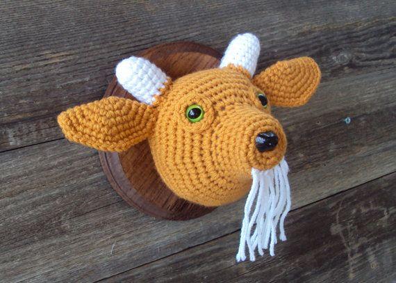 Crocheted Taxidermy Billy Goat head