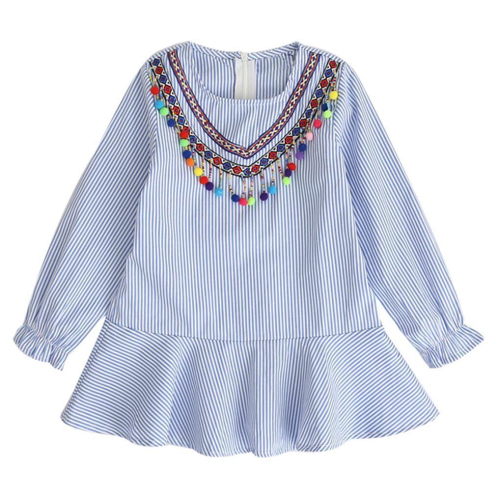 Sunbona toddler baby girls princess tassel striped autumn dress robe