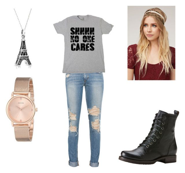 """""""Untitled #221"""" by sabrina-pelaez ❤ liked on Polyvore featuring beauty, Frye, With Love From CA, Bling Jewelry and GUESS"""