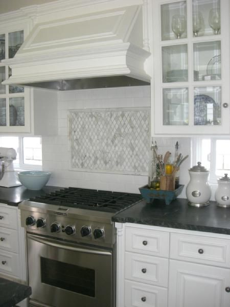 kitchens - kitchen, soapstone countertops, carrera marble backsplash on