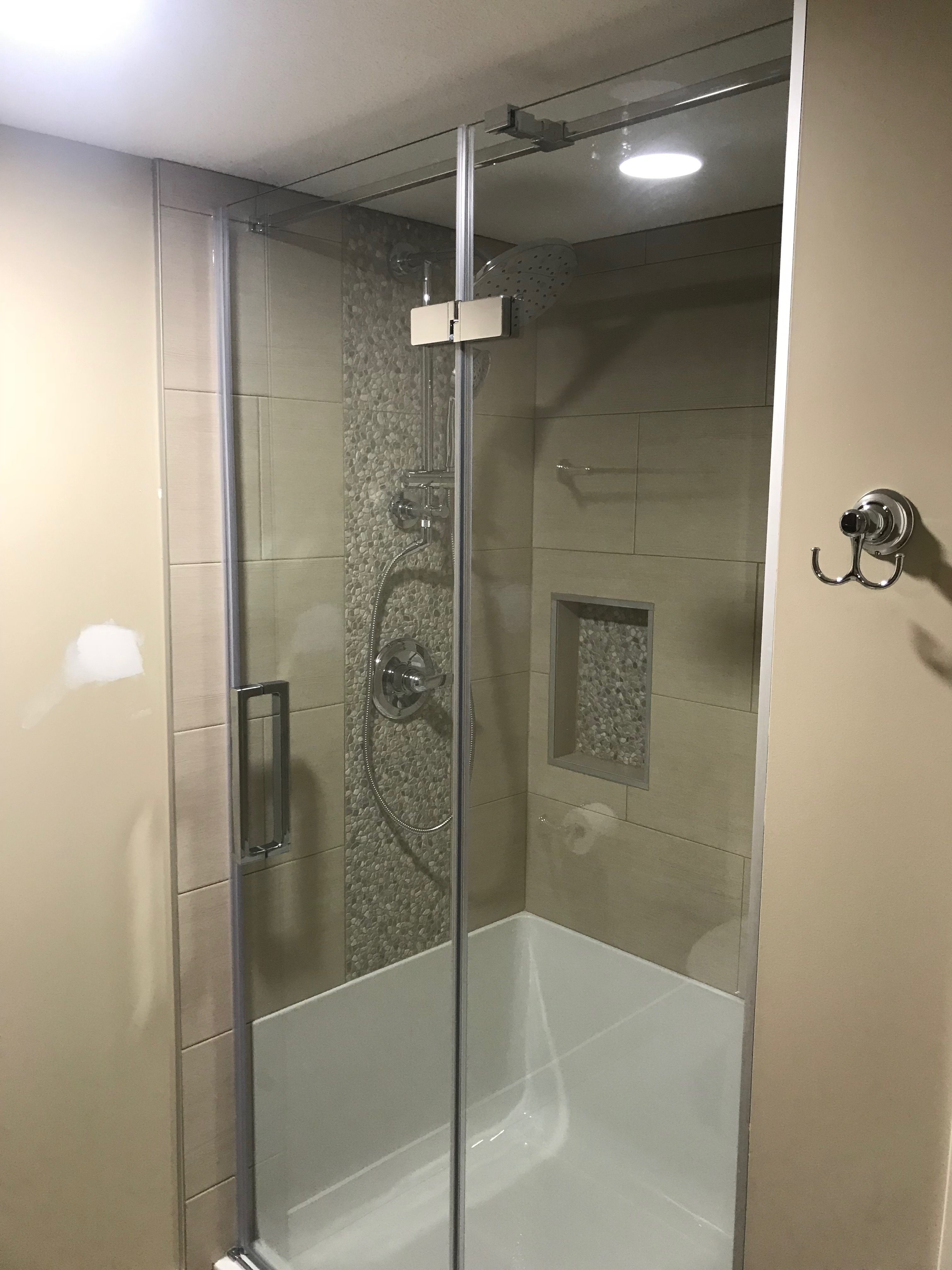 Shower Nice Pebble Tile Walk In Shower Tile Shower Accent