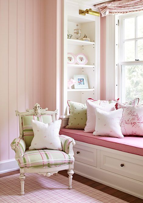 Pink & Green .. my two favourite colours for my daughters bedroom .. I am in love with the window seat, the book shelves and cushions just invite you to sit and read in the sunshine