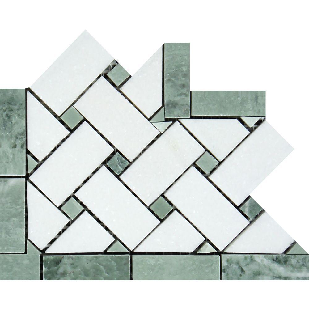Thassos White Polished Marble Basketweave Corner w/ Ming