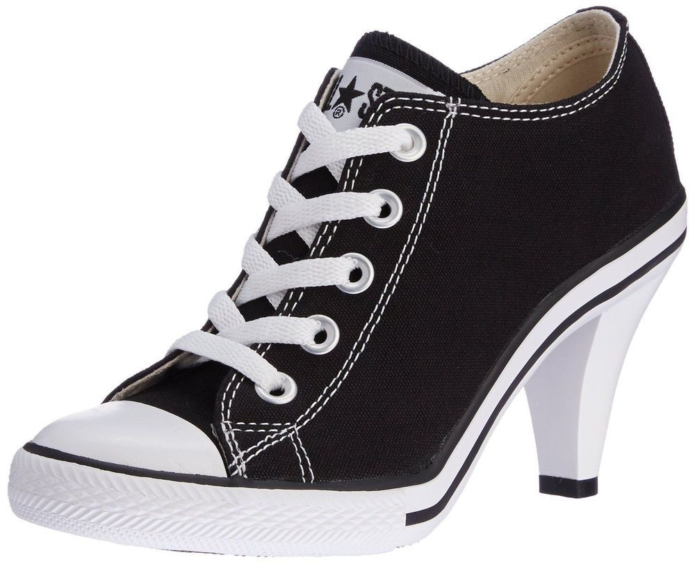 6cfe2bd8ab48 Converse All Star Women High Heel Casual Sneakers Lady OX Low Cut Black   Converse  Highheelsneakers  Casual