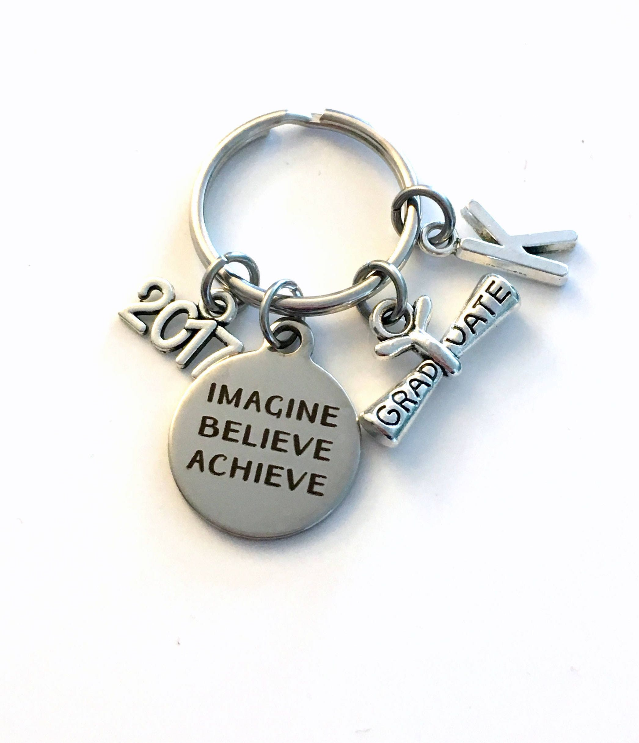 retirement letter to boss%0A Graduation Gift for Him Keychain  Imagine Believe Achieve      Scroll key  chain Keyring women letter