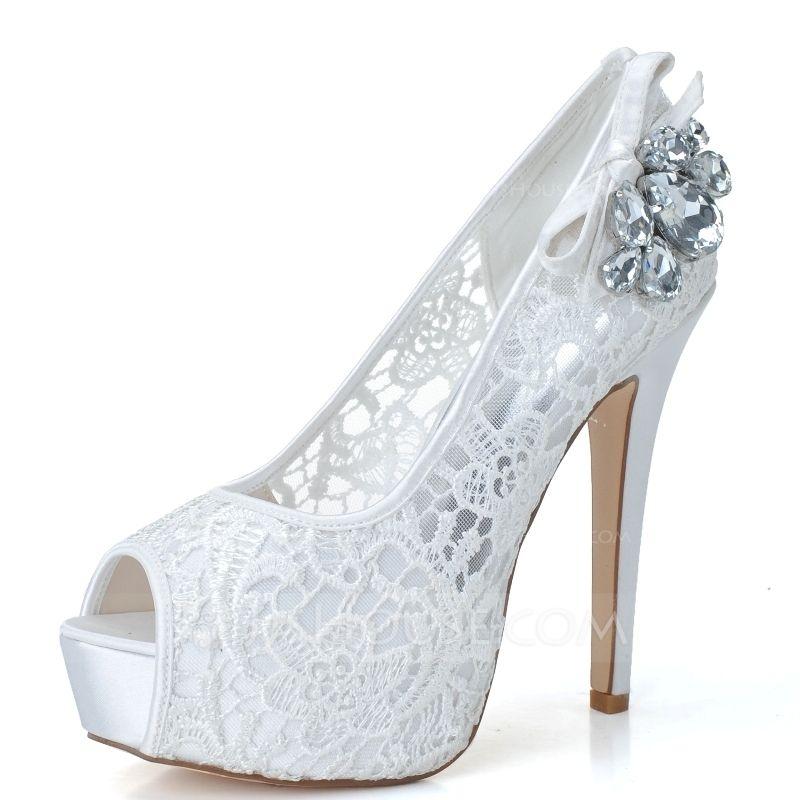 c35ac064d Mulheres Renda Salto agulha Peep toe Plataforma Bombas Sandálias com Strass  (047057070) - Sapatos de casamento - JJsHouse