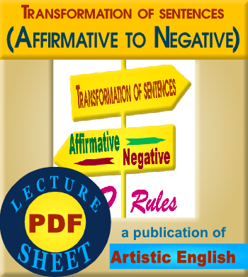 ''Affirmative to Negative Transformation (PDF Lecture Sheet) '' Download now the…