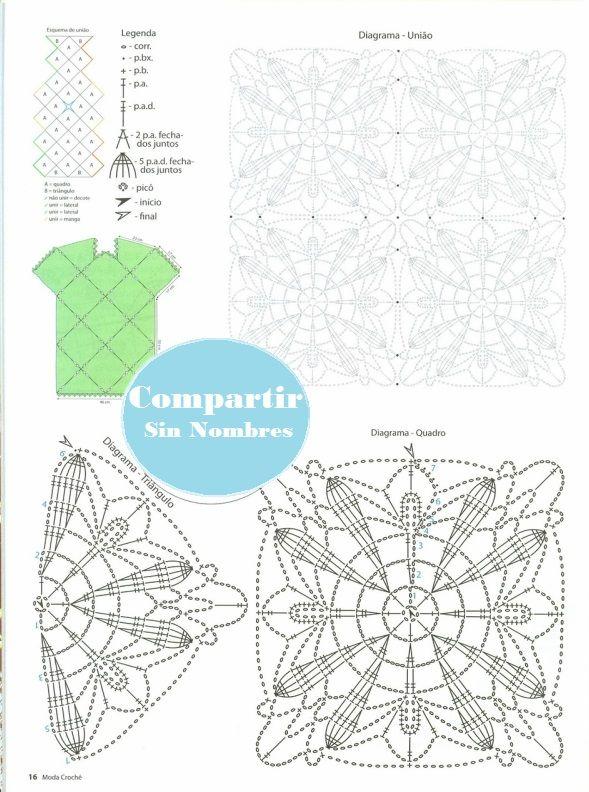 Patrones Crochet: Vestido Verde Menta con Apliques Patron