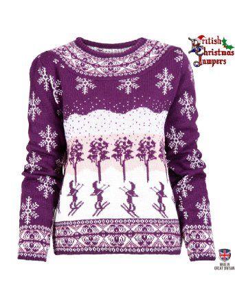Apres Ski Xmas - Purple and White - Womens Christmas Jumper ...