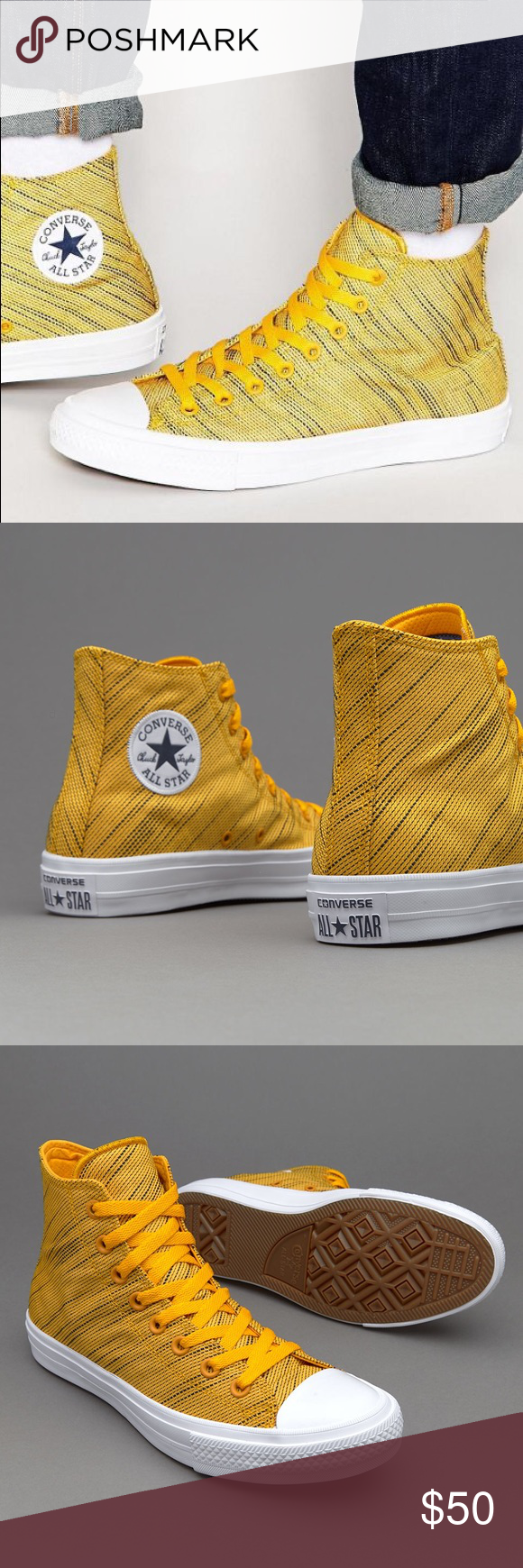 9e85f58bf1f5 Converse Chuck Taylors Knit yellow shoes The Converse Chuck Taylor All Star  2 Knit Collection Is Inspired By Music Festivals. Brand new without box.