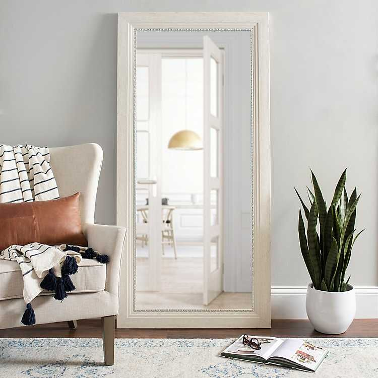 White Rustic Mirror With Silver Detail 31 5x65 5 From Kirkland S