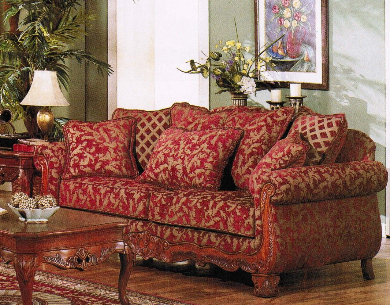 Sofa Couch Burgundy Gold Floral Chenille Fabric Red Sofa