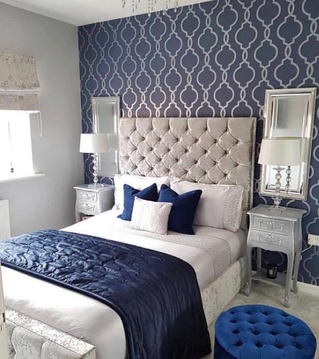 Best Wm6549301 Geometric Trellis Navy Blue Gold Wallpaper With 400 x 300