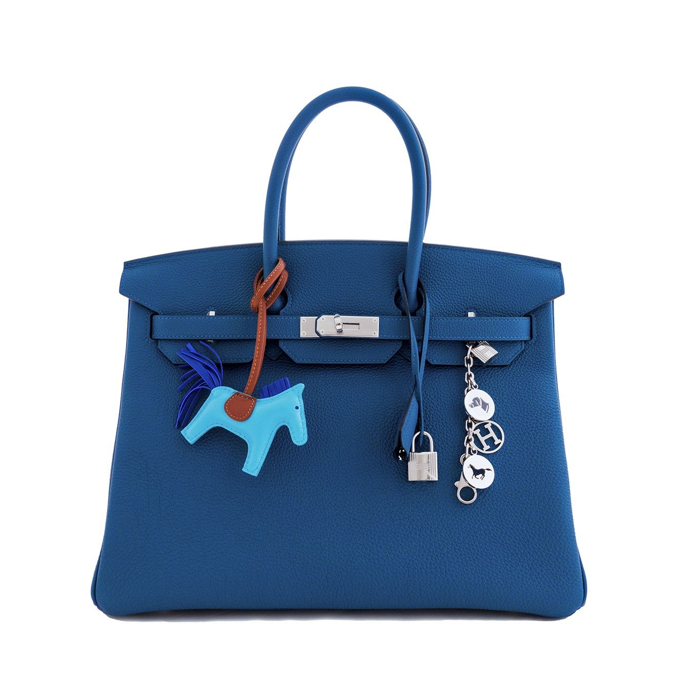 Hermès Blue de Galice Togo  Birkin 35cm with Palladium hardware. Blue de Galice a is rarely produced hue. A medium blue that is rich and complements almost every color.