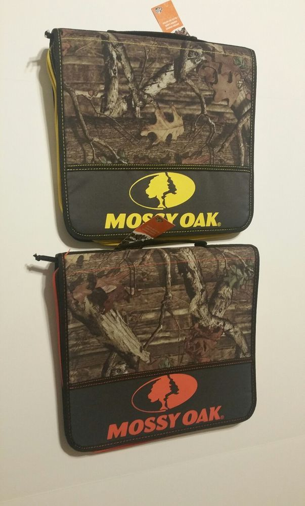 Mossy Oak Camo 1 1/2 Inch 3 Ring Zipper Binder Yellow Orange Logo Carry Handle #MossyOak