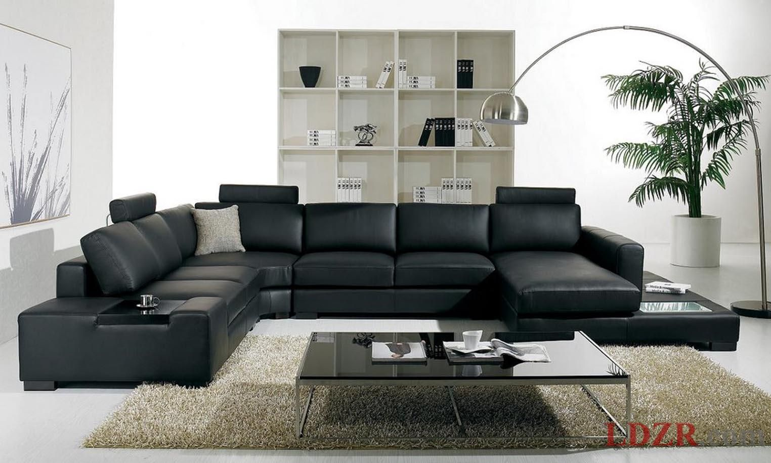 Home And Living Lovely Room With Black Leather Sofa Design Ideas