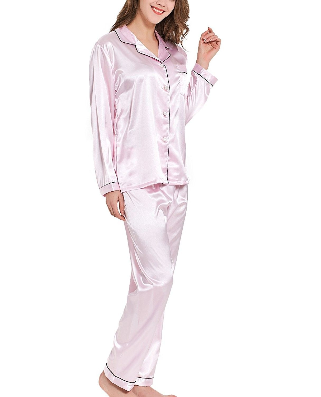 Women Silk Satin Pajamas Set Two-Piece Sleepwear Loungewear Button-Down Sets