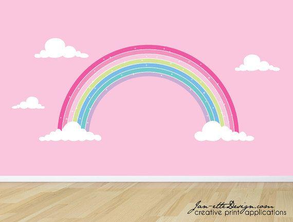 rainbow wall decal, pink rainbow fabric wall sticker,girls pink