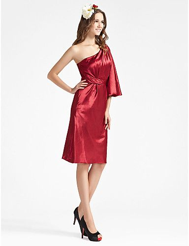 Sheath/ Column One Shoulder Knee-length Charmeuse Bridesmaid Dress - USD $ 99.99 - Free shipping for all