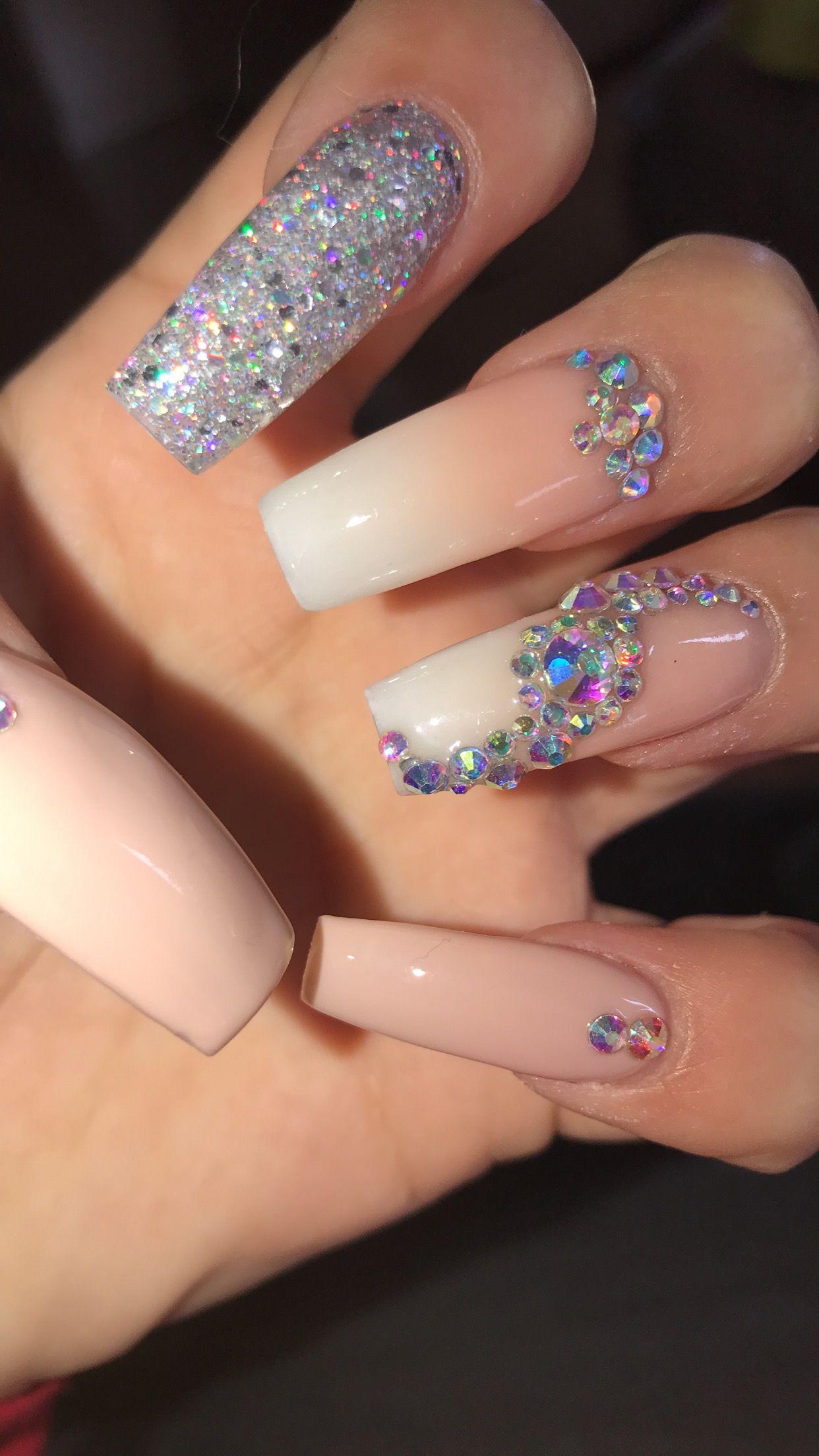 Diamond Acrylics Diamond Nail Designs Diamond Nails Stylish Nails Designs