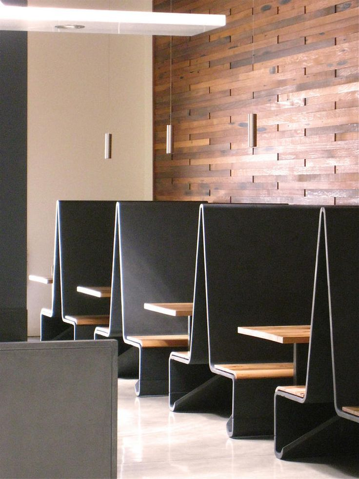 Asian inspired modern banquette seats on other side of