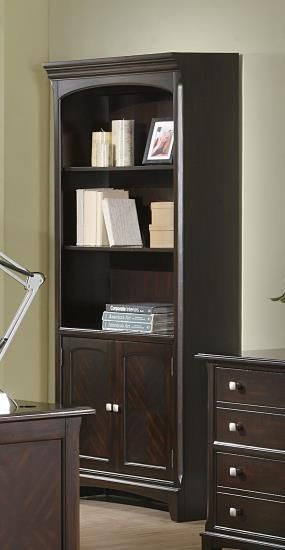 Garson Collection Transitional Style Espresso Finish Wood Office Bookcase
