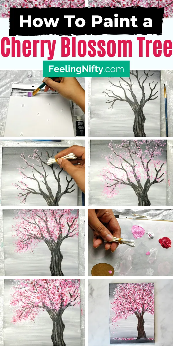 Painting a Cherry Blossom Tree with Acrylics and Cotton Swabs