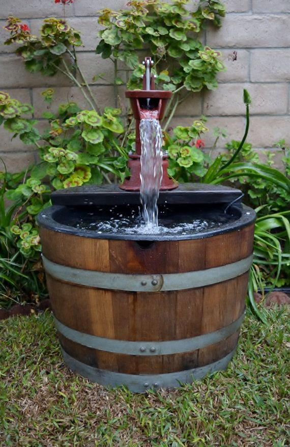 1 X2f 2 Wine Barrel Fountain Old Fashion Water Pump Diy Water Fountain Barrel Fountain Fountains Outdoor