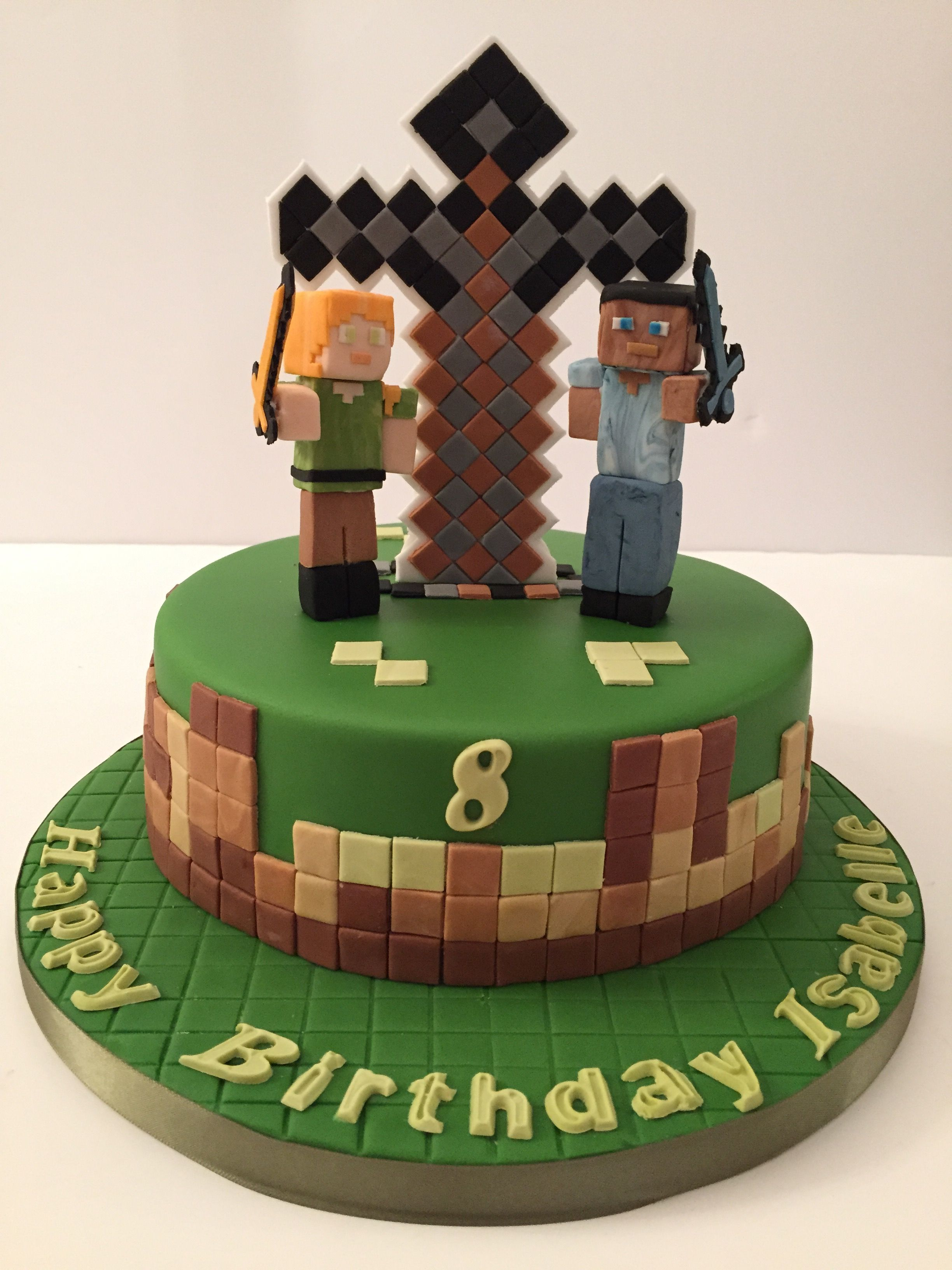 A Minecraft Cake With Steve And Alex Sword Fighting By