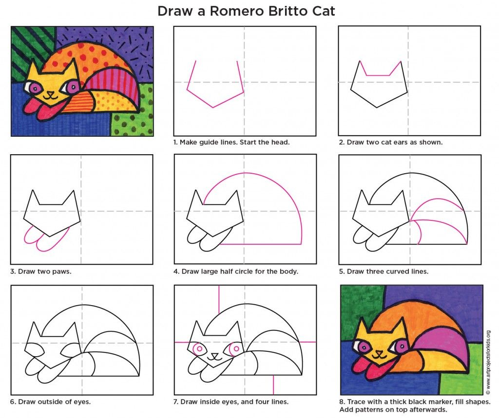 Draw A Romero Britto Cat Art Projects For Kids Kids Art Projects Art Classroom Britto Art [ 861 x 1024 Pixel ]