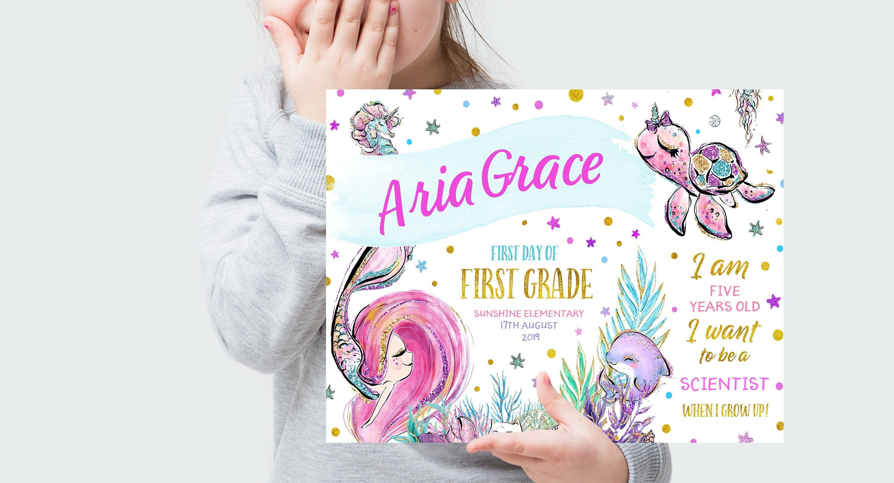 Editable First Day of First Grade Sign, First Day Of School Mermaid Sign, First Day of First Grade Mermaid Photo Prop, Mermaid Signs #firstdayofschoolsign