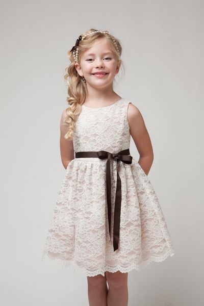 flower girl dresses for 11 yrs old | ivory taupe lace flower girl ...
