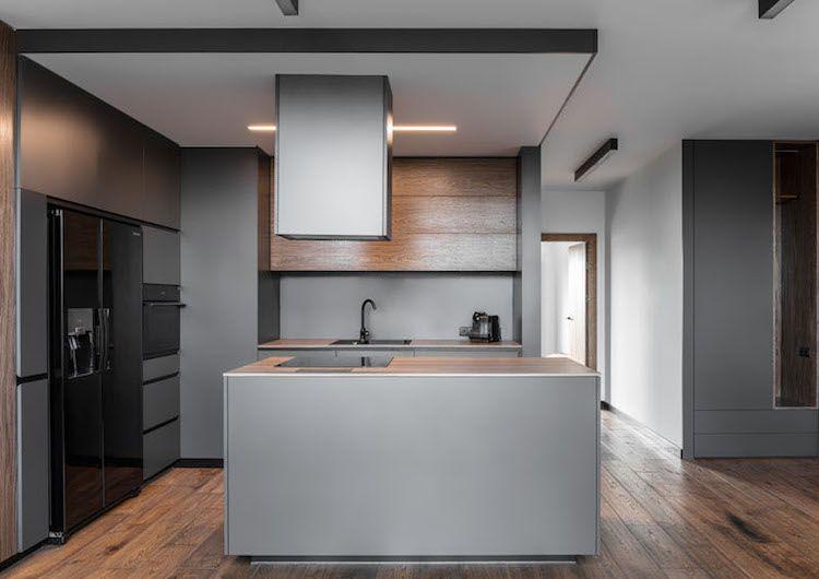 Charmant Moderne, Offene Küche In Grau, Schwarz Und Holz